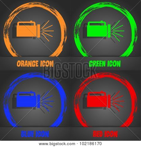 Flashlight Icon Sign. Fashionable Modern Style. In The Orange, Green, Blue, Red Design. Vector