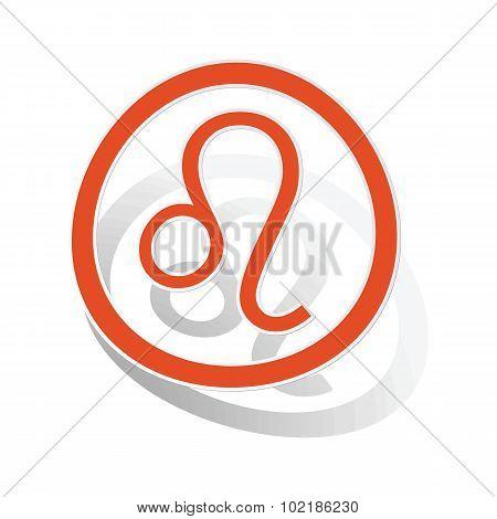 Leo sign sticker, orange