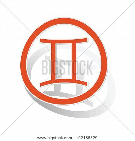 Gemini sign sticker, orange