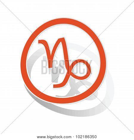 Capricorn sign sticker, orange