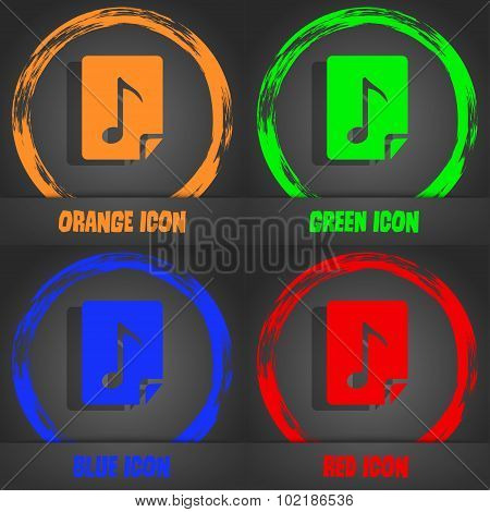 Audio, Mp3 File Icon Sign. Fashionable Modern Style. In The Orange, Green, Blue, Red Design. Vector