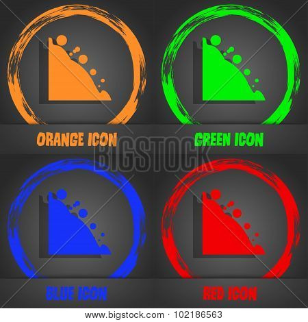 Rockfall Icon. Fashionable Modern Style. In The Orange, Green, Blue, Red Design. Vector
