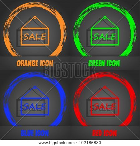 Sale Tag Icon Sign. Fashionable Modern Style. In The Orange, Green, Blue, Red Design. Vector