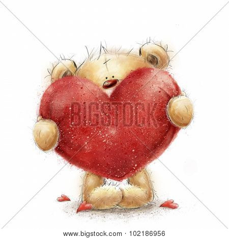 Teddy bear with the big red heart.Valentines greeting card. Love design.Love.I love You card. Love p