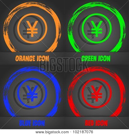 Japanese Yuan Icon Sign. Fashionable Modern Style. In The Orange, Green, Blue, Red Design. Vector