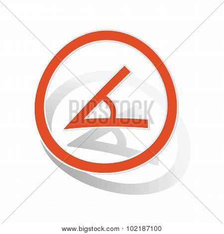 Angle sign sticker, orange