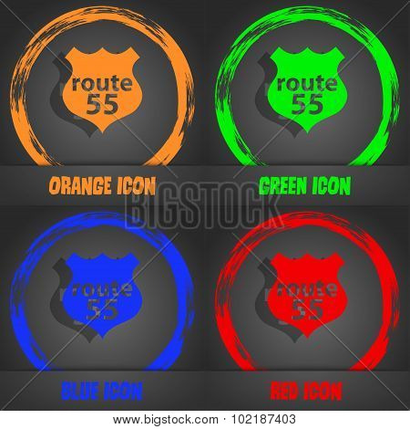 Route 55 Highway Icon Sign. Fashionable Modern Style. In The Orange, Green, Blue, Red Design. Vector