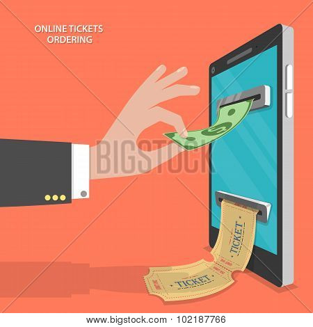 Online tickets ordering flat vector concept.