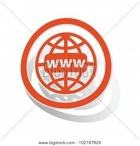 Global network sign sticker, orange