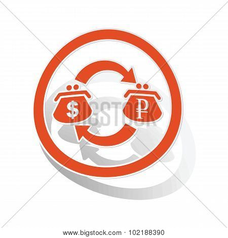 Dollar-rouble trade sign sticker, orange