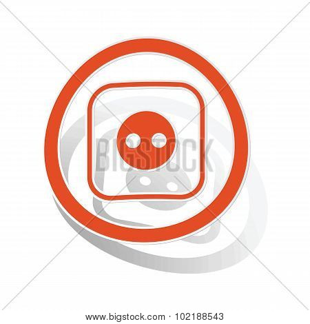 Socket sign sticker, orange