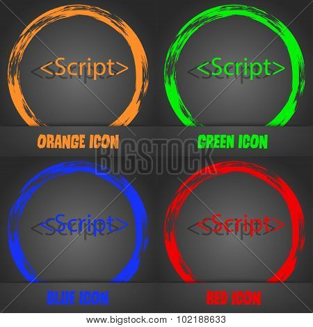 Script Sign Icon. Javascript Code Symbol. Fashionable Modern Style. In The Orange, Green, Blue, Red