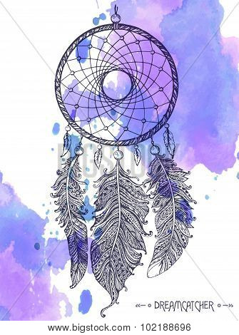 Hand Drawn Dreamcatcher With Ornamental Feathers On Watercolor Background.