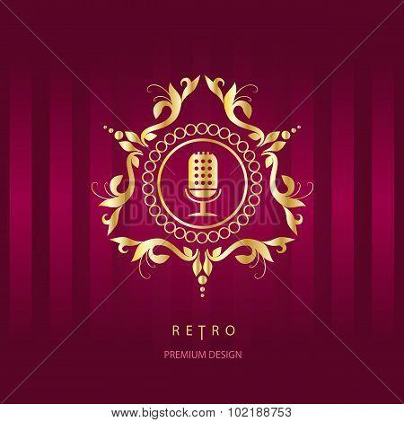 Microphone Icon And Monogram Design Elements.
