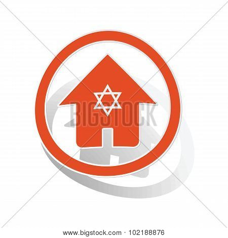 Jewish house sign sticker, orange