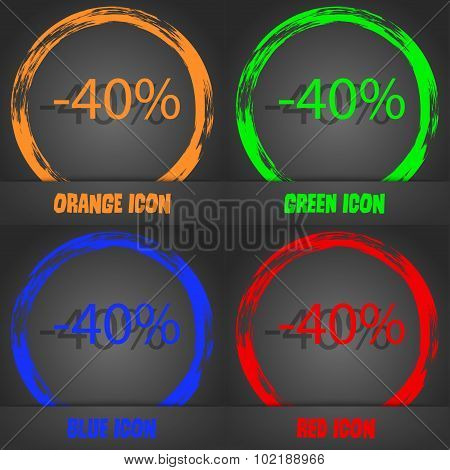 40 Percent Discount Sign Icon. Sale Symbol. Special Offer Label. Fashionable Modern Style. In The Or
