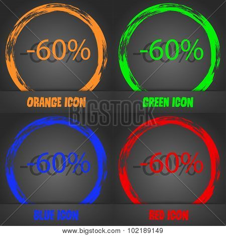 60 Percent Discount Sign Icon. Sale Symbol. Special Offer Label. Fashionable Modern Style. In The Or