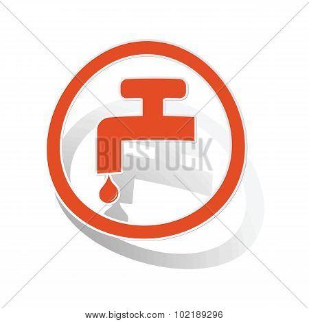 Water tap sign sticker, orange