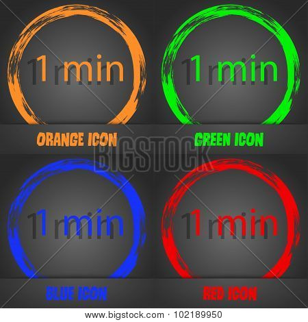 One Minutes Sign Icon. Fashionable Modern Style. In The Orange, Green, Blue, Red Design. Vector