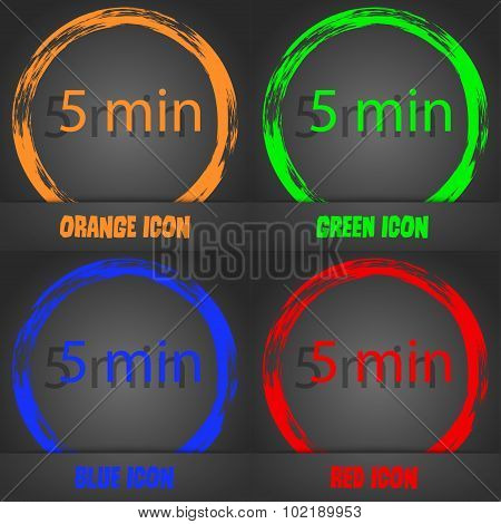 Five Minutes Sign Icon. Fashionable Modern Style. In The Orange, Green, Blue, Red Design. Vector