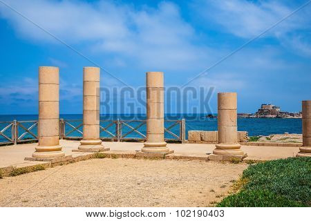 National Park Caesarea, Israel. Ancient columns from the Byzantine period on Mediterranean coast