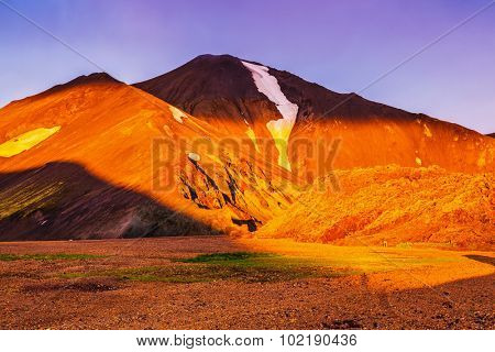 Early morning in the Arctic. Sunrise National Park Landmannalaugar, Iceland