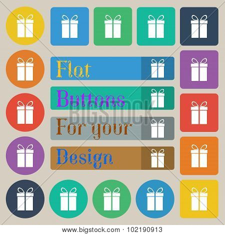 Gift Box Sign Icon. Present Symbol. Set Of Twenty Colored Flat, Round, Square And Rectangular Button