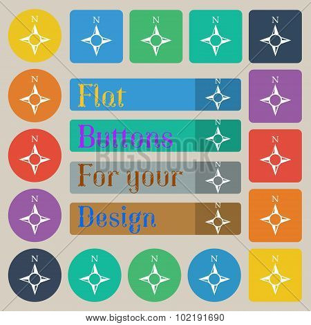 Compass Sign Icon. Windrose Navigation Symbol. Set Of Twenty Colored Flat, Round, Square And Rectang