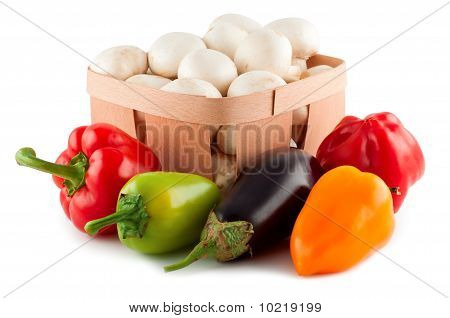 Vegetables, Pepper, Eggplant, Mushrooms, Isolated White Background.