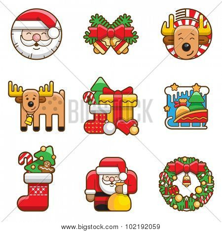 Merry Christmas icons vector illustrations linear outline friendly funny style. Santa Claus, Deer, Bells, Gift Box, Wreath, Christmas Tree, Sledge, Stocking Socks lineart outlined holidays icon set.