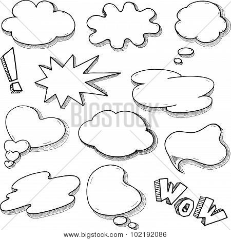 Vector Speech Bubble Set In Comics Style, Hand Drawn Sketch Thought Clouds