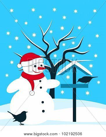 Snowman And Bidrs
