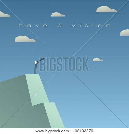 Business vision concept. Looking at future with binoculars. Simple cartoon, space for text.
