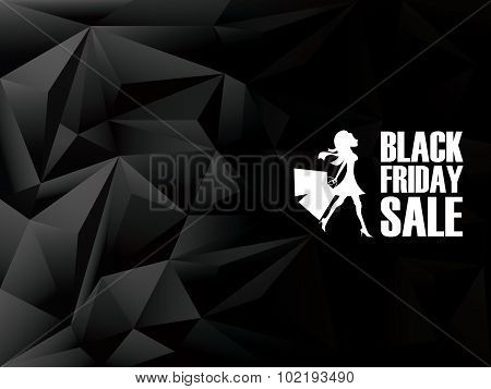 Black friday sale background. Holiday sales template. Low poly design. White woman shopping.