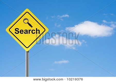 Sign Search Magnifier Sky Background.