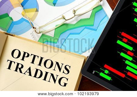 Word options trading written on a book.