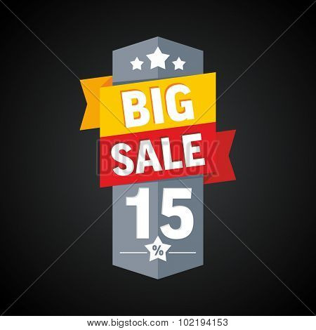 Big sale 15 percent badge. Vector illustration.
