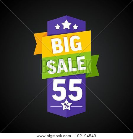 Big sale 55 percent badge. Vector illustration.