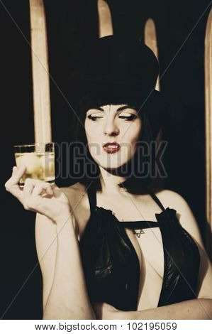 Young Woman With Glass Of Whiskey