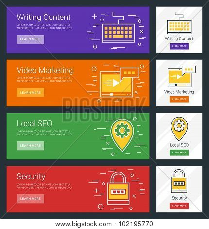 Writing Content. Video Marketing. Local Seo. Security. Flat Design Concept. Set Of Vector Web Banner