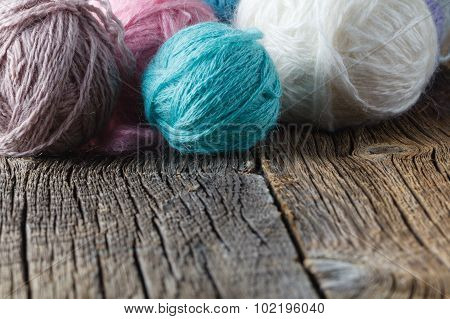 Clews Of Colored Yarn
