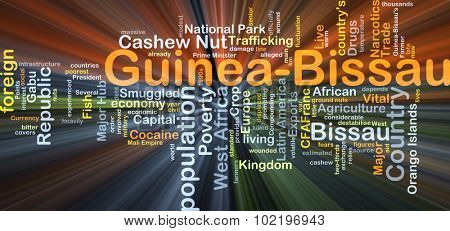 Background concept wordcloud illustration of Guinea Bissau glowing light