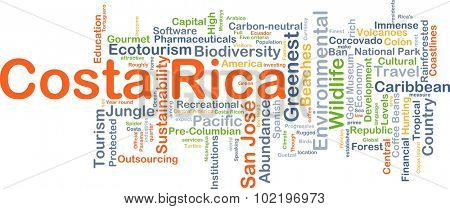 Background concept wordcloud illustration of Costa Rica