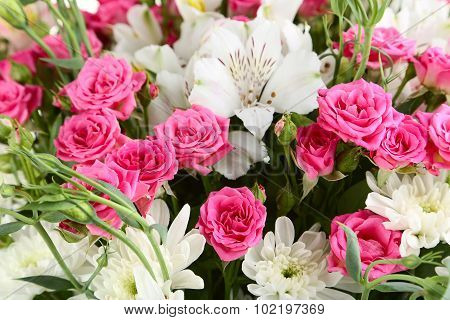 Bouquet Of Beuatiful Roses Background, Close Up