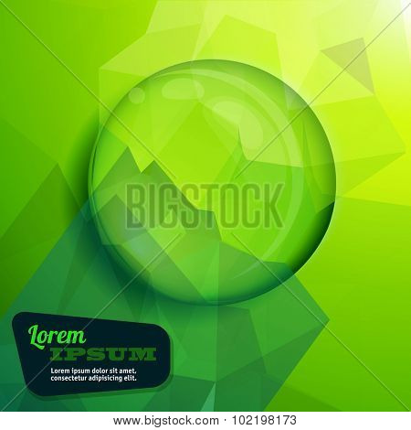 Clear green water drop. Vector background.