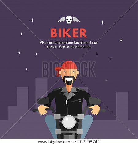 Biker Riding Motorcycle Through The City Streets At Night. Flat Design Illustration