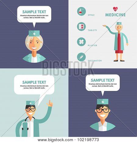Set Of  Flat Design Vector Illustrations Of Doctor. Infographic Design Elements