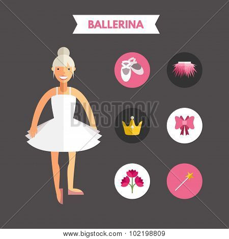 Flat Design Vector Illustration Of Ballerina With Icon Set. Infographic Design Elements