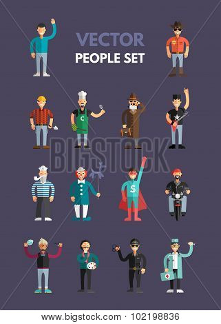 Set Of Flat Design Professional People Characters. Men Set. Sailor, Cowboy, Stylist, Policeman, Clow