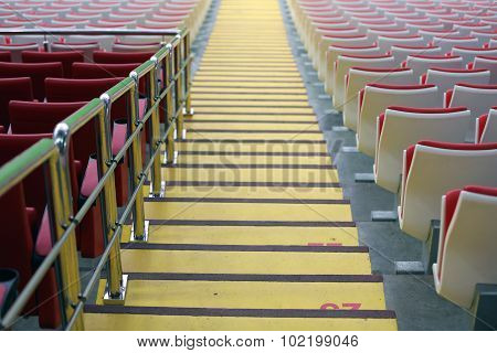 Steps Between The Stands At The Stadium